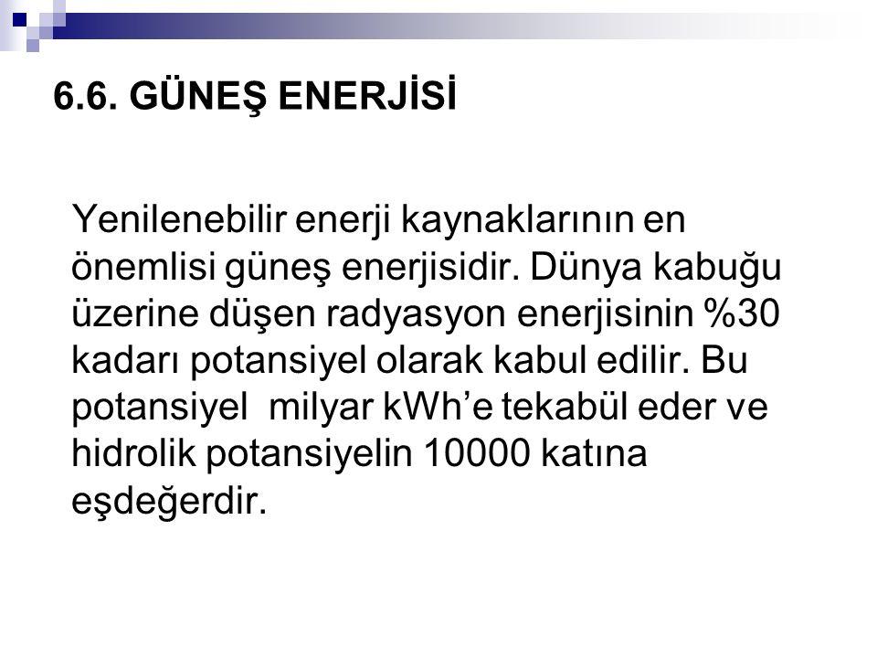 6.6. GÜNEŞ ENERJİSİ Yenilenebilir enerji kaynaklarının en önemlisi güneş enerjisidir. Dünya kabuğu üzerine düşen radyasyon enerjisinin %30 kadarı pota