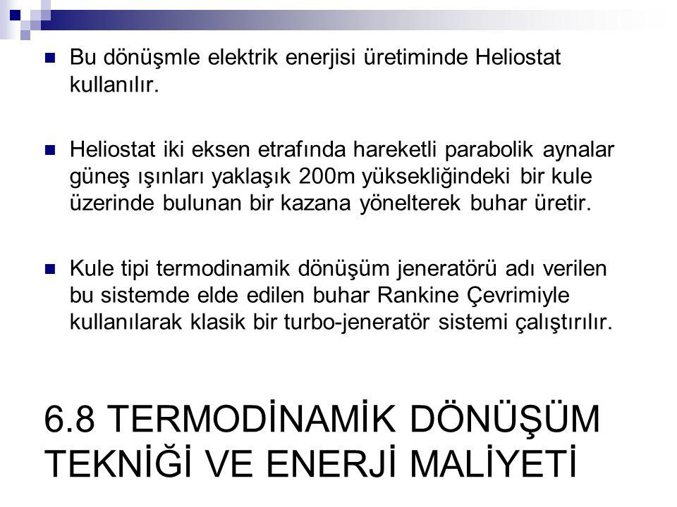 6.8 TERMODİNAMİK DÖNÜŞÜM TEKNİĞİ VE ENERJİ MALİYETİ Bu dönüşmle elektrik enerjisi üretiminde Heliostat kullanılır. Heliostat iki eksen etrafında harek