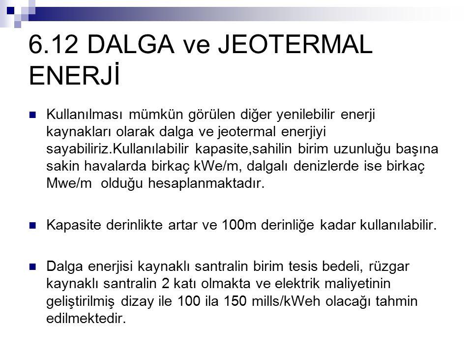 6.12 DALGA ve JEOTERMAL ENERJİ Kullanılması mümkün görülen diğer yenilebilir enerji kaynakları olarak dalga ve jeotermal enerjiyi sayabiliriz.Kullanıl
