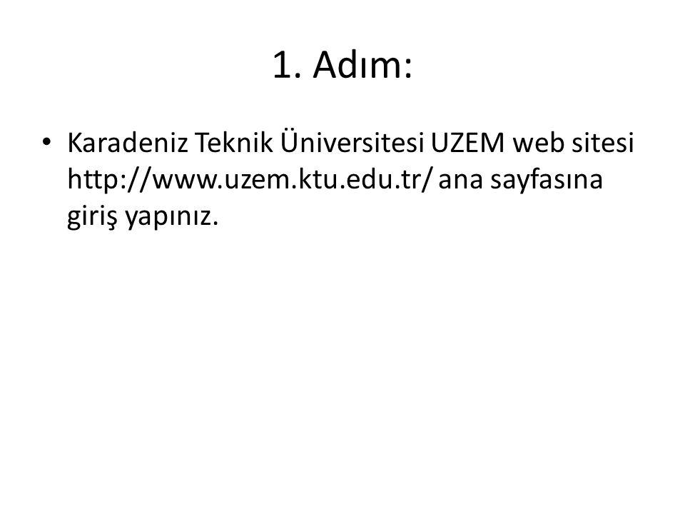 1. Adım: Karadeniz Teknik Üniversitesi UZEM web sitesi http://www.uzem.ktu.edu.tr/ ana sayfasına giriş yapınız.