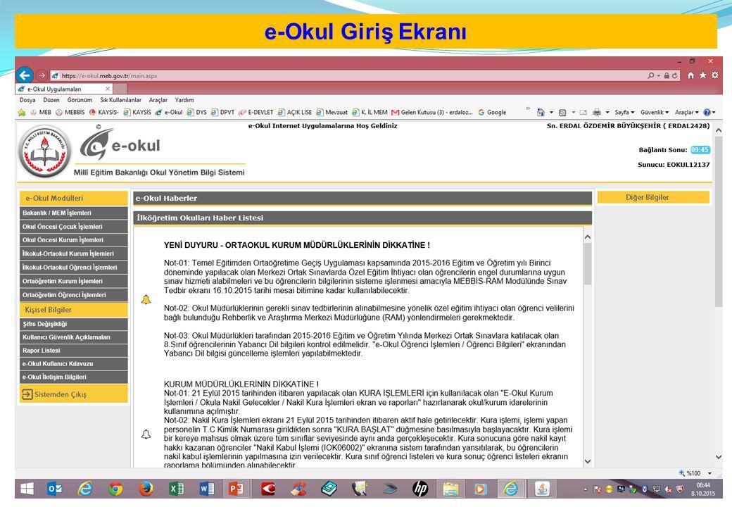 Tüm Resmi ve Özel Okulların ivedilikle güncellenmesi gereken ekranlar: e-okul Modülünde Okul öncesi Kurum İşlemleri,(Anaokulları) İlkokul-Ortaokul Kurum İşlemleri (İlkokul ve Ortaokullar) Ortaöğretim kurum işlemleri (Liseler) den OKUL BİLGİLERİ başlığı altındaki, Okul Bilgileri Güncelle Öğretim Şekli/Şube Tipini Güncelle Tahsis Durumu Bina Durumu Lojman Durumu Bina Kullanımı : B Dikkat!!.