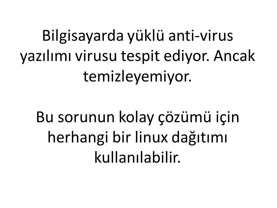 Bilgisayarda yüklü anti-virus yazılımı virusu tespit ediyor.