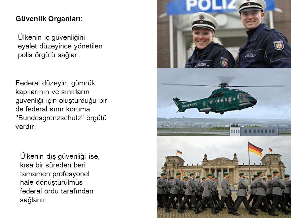 Güvenlik Organları: Ülkenin iç güvenliğini eyalet düzeyince yönetilen polis örgütü sağlar.