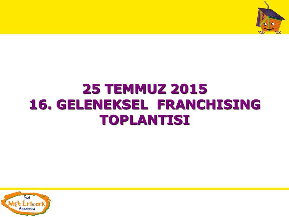 25 TEMMUZ 2015 16.GELENEKSEL FRANCHISING TOPLANTISI 25 TEMMUZ 2015 16.