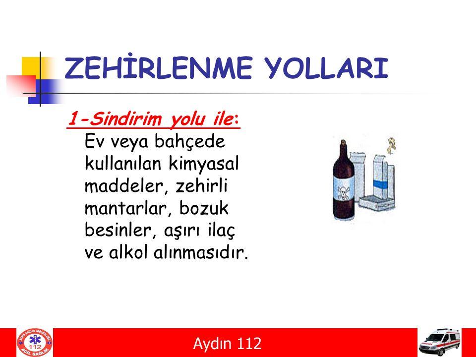 ZEHİRLENME YOLLARI 1-Sindirim yolu ile: Ev veya bahçede kullanılan kimyasal maddeler, zehirli mantarlar, bozuk besinler, aşırı ilaç ve alkol alınmasıd