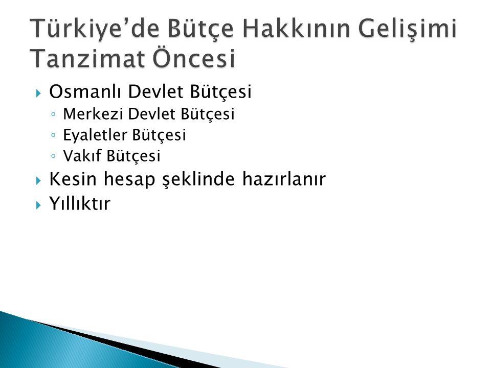  Osmanlı Devlet Bütçesi ◦ Merkezi Devlet Bütçesi ◦ Eyaletler Bütçesi ◦ Vakıf Bütçesi  Kesin hesap şeklinde hazırlanır  Yıllıktır