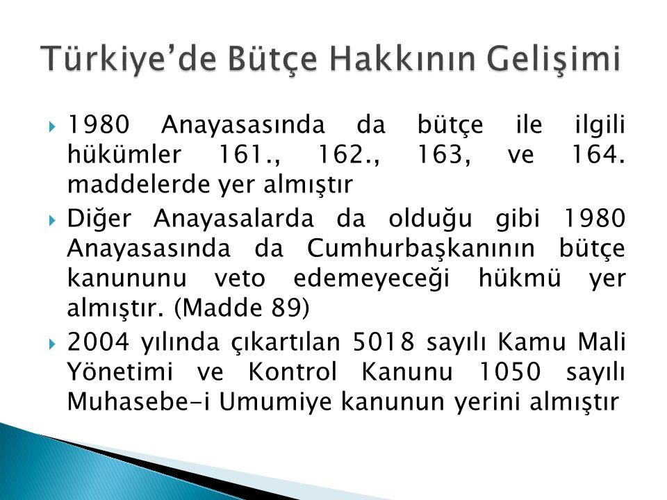  1980 Anayasasında da bütçe ile ilgili hükümler 161., 162., 163, ve 164. maddelerde yer almıştır  Diğer Anayasalarda da olduğu gibi 1980 Anayasasınd