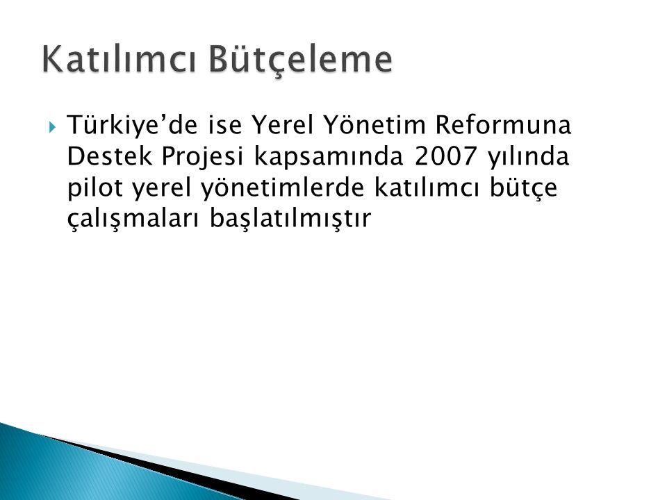  Türkiye'de ise Yerel Yönetim Reformuna Destek Projesi kapsamında 2007 yılında pilot yerel yönetimlerde katılımcı bütçe çalışmaları başlatılmıştır