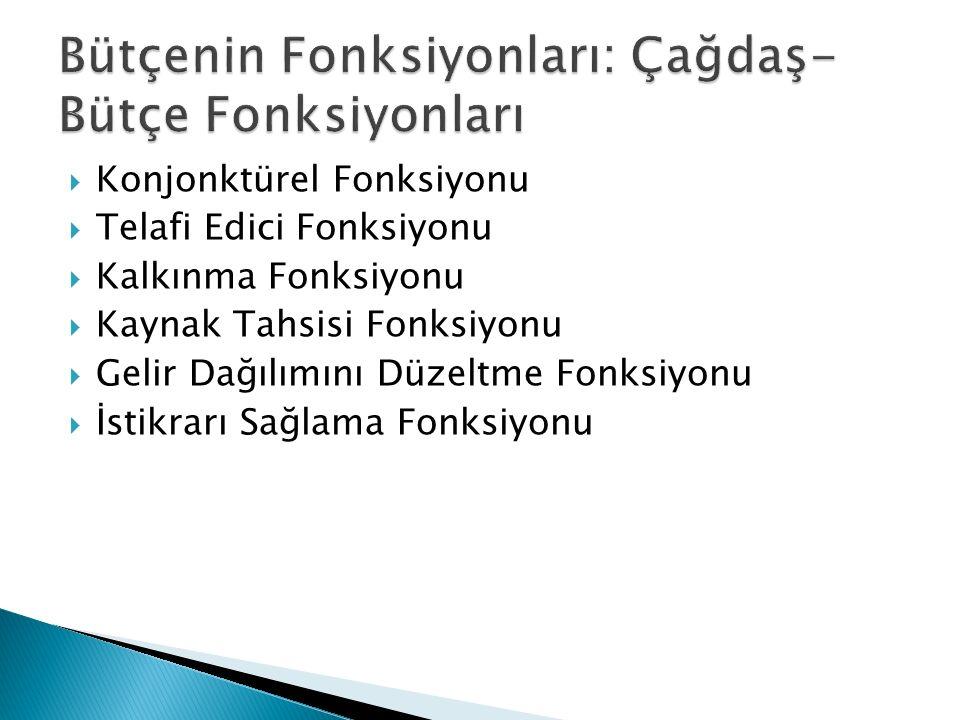  Konjonktürel Fonksiyonu  Telafi Edici Fonksiyonu  Kalkınma Fonksiyonu  Kaynak Tahsisi Fonksiyonu  Gelir Dağılımını Düzeltme Fonksiyonu  İstikra