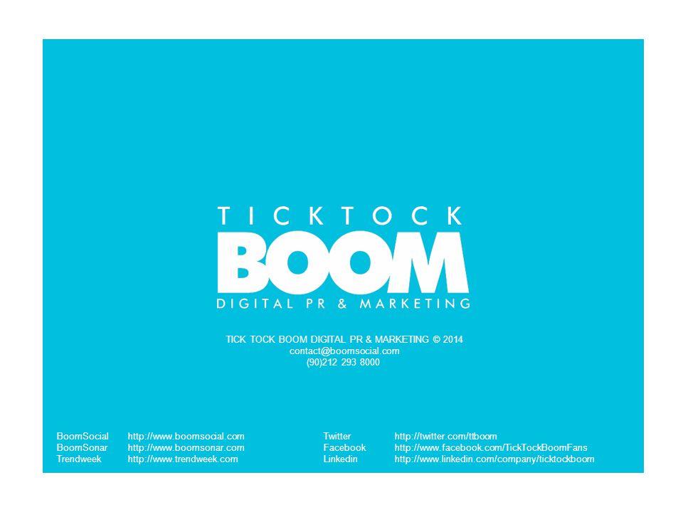 TICK TOCK BOOM DIGITAL PR & MARKETING © 2014 contact@boomsocial.com (90)212 293 8000 BoomSocialhttp://www.boomsocial.com BoomSonarhttp://www.boomsonar.com Trendweekhttp://www.trendweek.com Twitterhttp://twitter.com/ttboom Facebookhttp://www.facebook.com/TickTockBoomFans Linkedinhttp://www.linkedin.com/company/ticktockboom