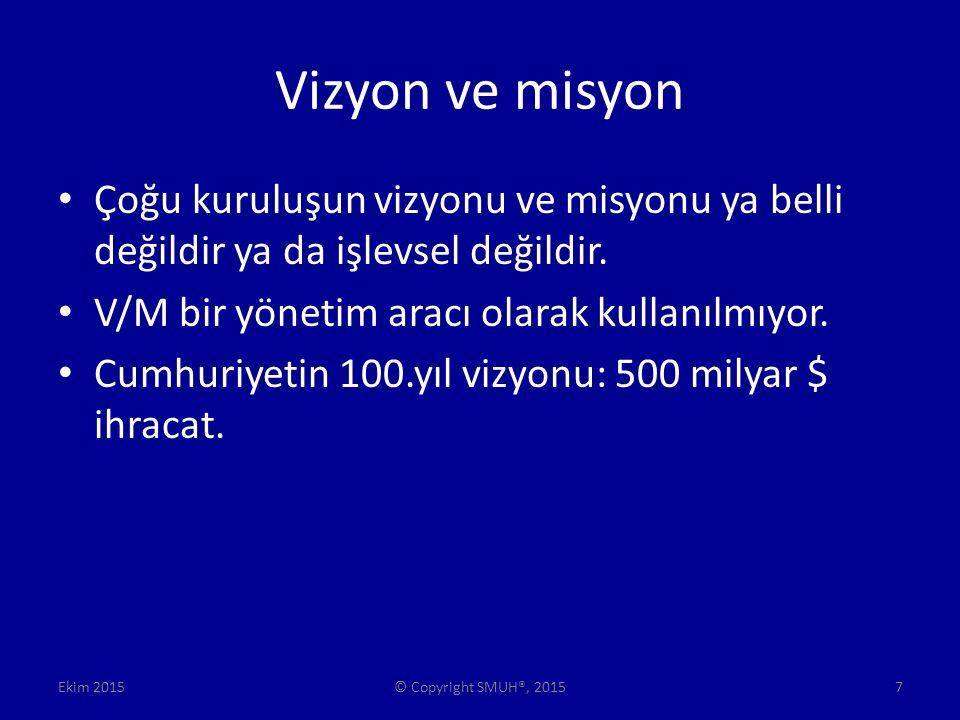 Vizyon ve misyon Çoğu kuruluşun vizyonu ve misyonu ya belli değildir ya da işlevsel değildir.