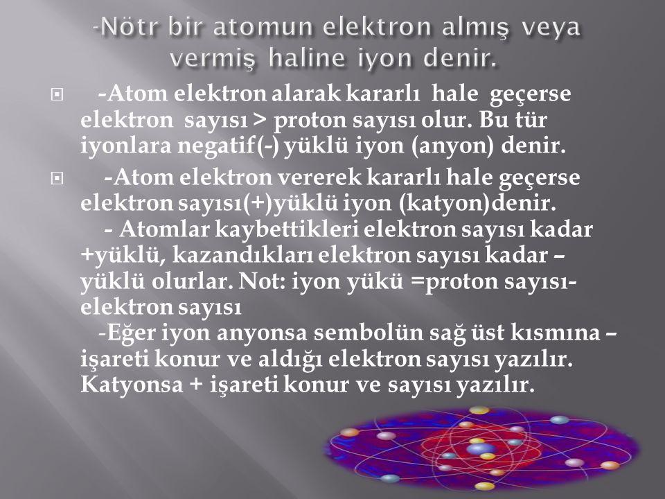  Bir atomdaki yörünge kabuklarından en dıştakinde bulunan elektronlar, komşu atomların elektronlarıyla etkileşimde bulunurlar.