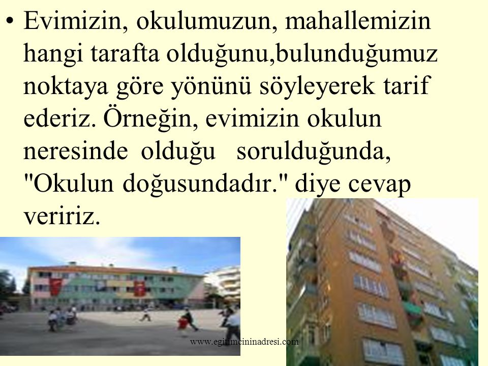 KAYALARIN YOSUNLU TARAFLARI KUZEYE BAKAR. www.egitimcininadresi.com