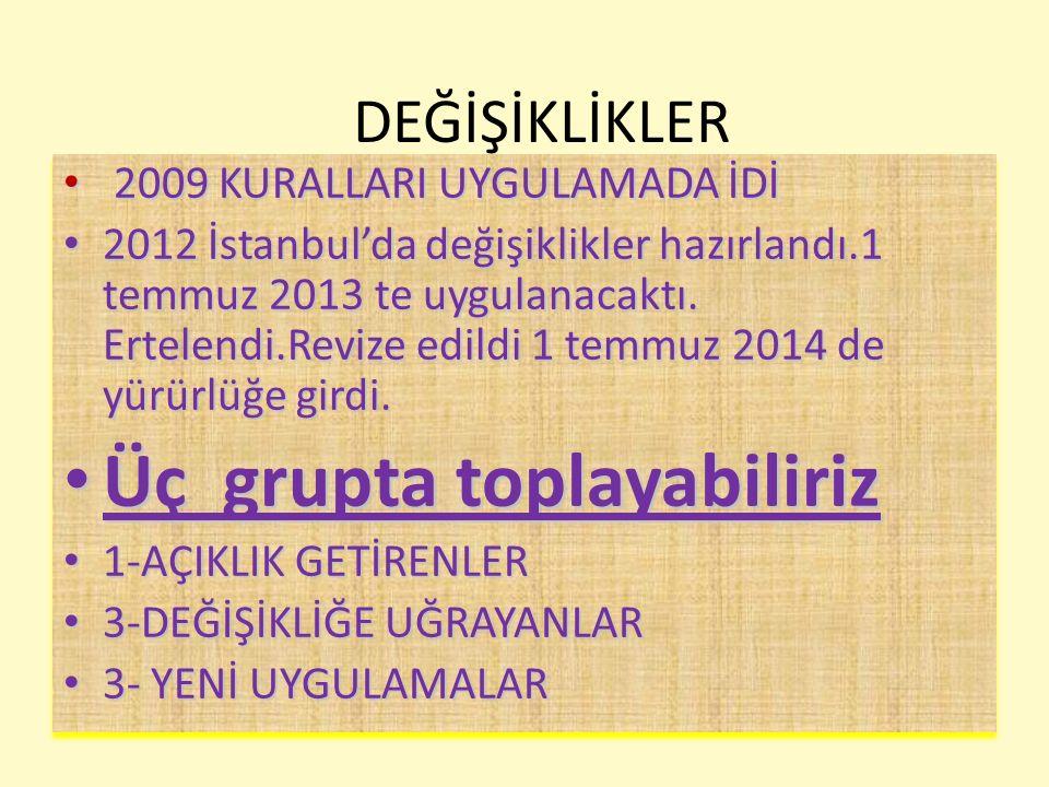 DEĞİŞİKLİKLER 2009 KURALLARI UYGULAMADA İDİ 2009 KURALLARI UYGULAMADA İDİ 2012 İstanbul'da değişiklikler hazırlandı.1 temmuz 2013 te uygulanacaktı. Er