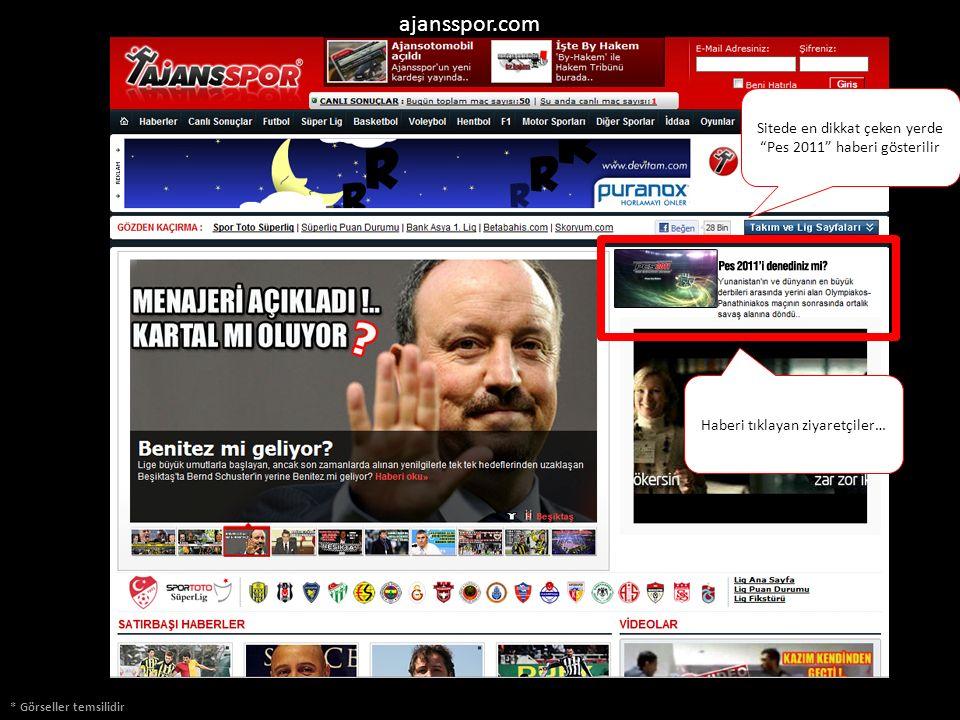 """* Görseller temsilidir ajansspor.com Sitede en dikkat çeken yerde """"Pes 2011"""" haberi gösterilir Haberi tıklayan ziyaretçiler…"""