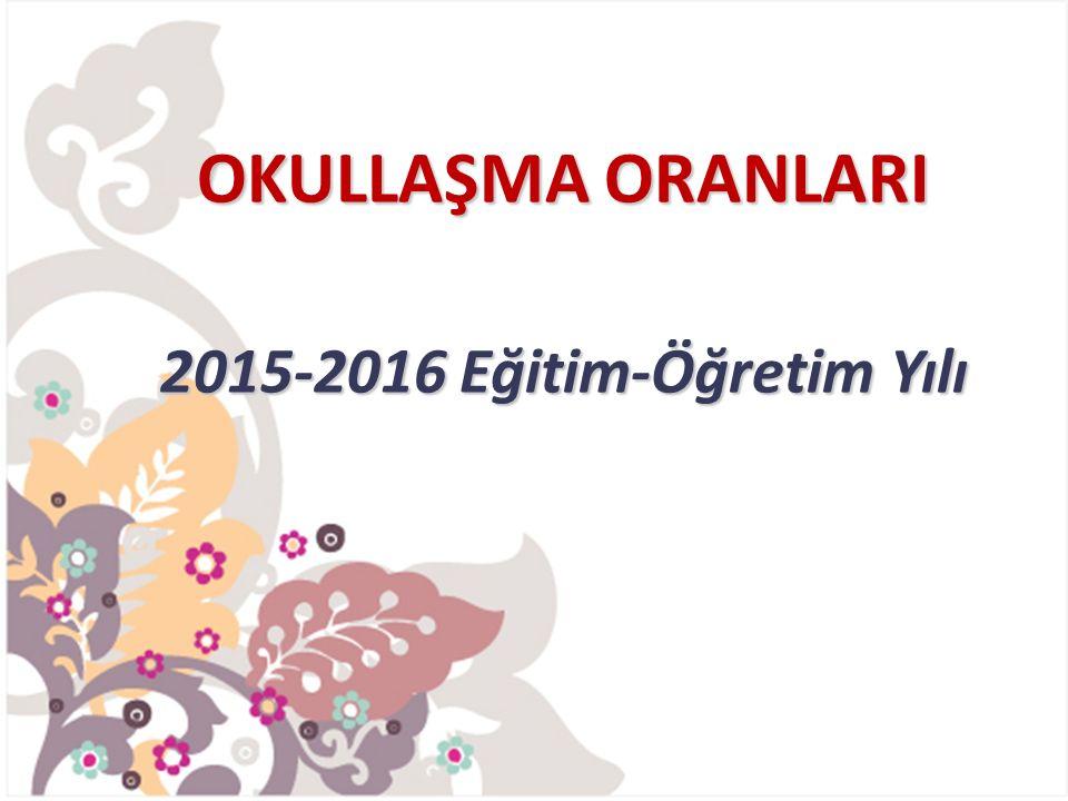 OKULLAŞMA ORANLARI 2015-2016 Eğitim-Öğretim Yılı