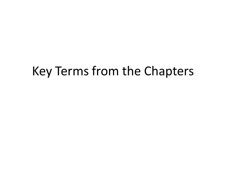 Key Terms from the Chapters