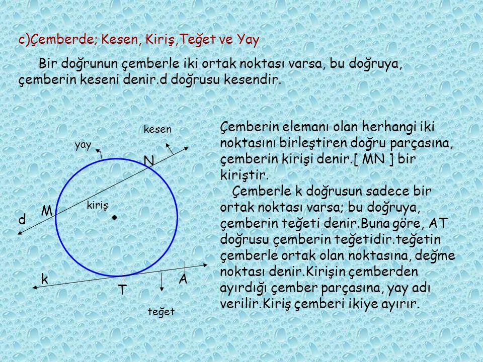 1)A noktası çember üzerindedir.Çemberin elemanı olan her bir noktanın çemberin merkezine olan uzaklığı, yarıçapının uzunluğuna eşittir. Yani, l OA l =