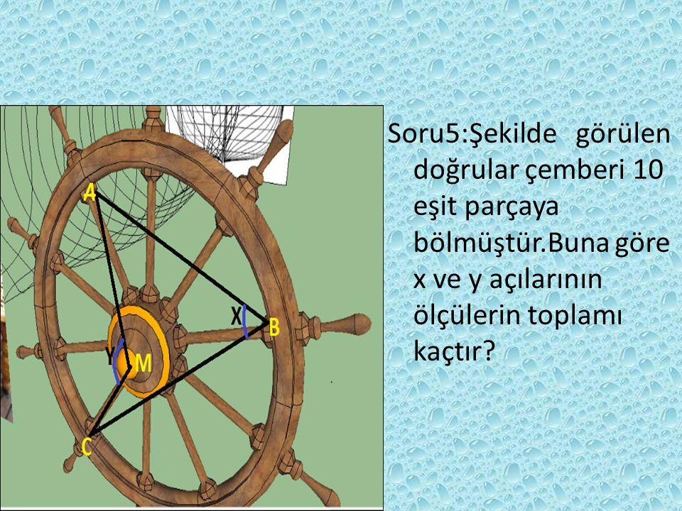 SORU4:Lambaların arasındaki mesafeler eşittir.Buna göre A ile B noktalarına bakan merkez açının derecesi ile C ile E noktalarına bakan merkez açıların