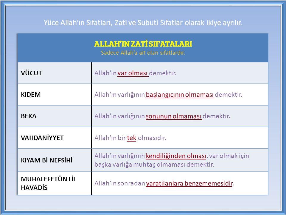 Yüce Allah'ın Sıfatları, Zati ve Subuti Sıfatlar olarak ikiye ayrılır.