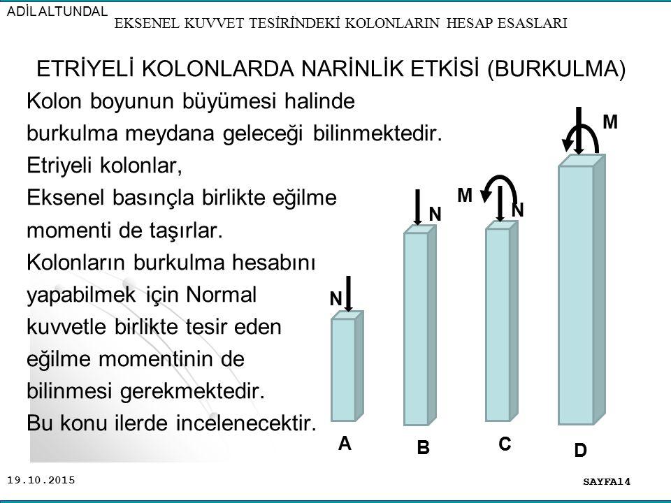 19.10.2015 ETRİYELİ KOLONLARDA NARİNLİK ETKİSİ (BURKULMA) Kolon boyunun büyümesi halinde burkulma meydana geleceği bilinmektedir. Etriyeli kolonlar, E