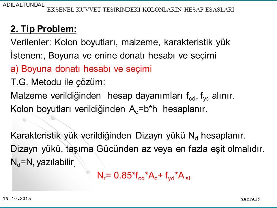 19.10.2015 2. Tip Problem: Verilenler: Kolon boyutları, malzeme, karakteristik yük İstenen:, Boyuna ve enine donatı hesabı ve seçimi a) Boyuna donatı