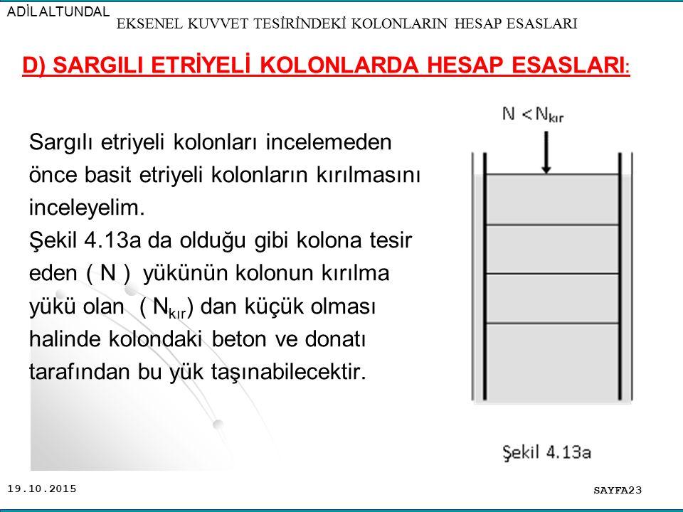 19.10.2015 Sargılı etriyeli kolonları incelemeden önce basit etriyeli kolonların kırılmasını inceleyelim. Şekil 4.13a da olduğu gibi kolona tesir eden