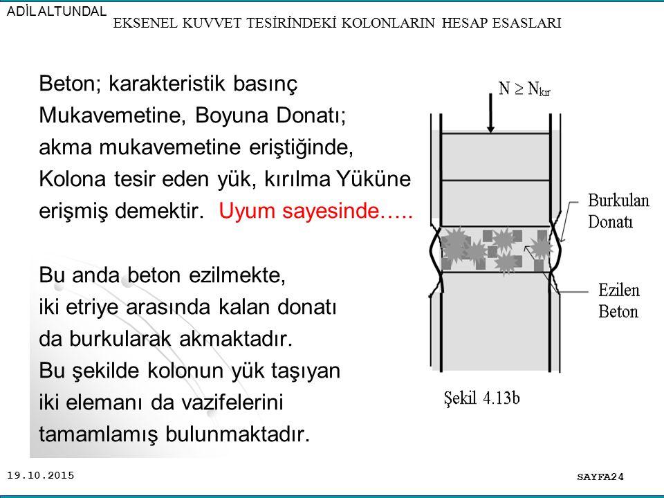 19.10.2015 Beton; karakteristik basınç Mukavemetine, Boyuna Donatı; akma mukavemetine eriştiğinde, Kolona tesir eden yük, kırılma Yüküne erişmiş demek