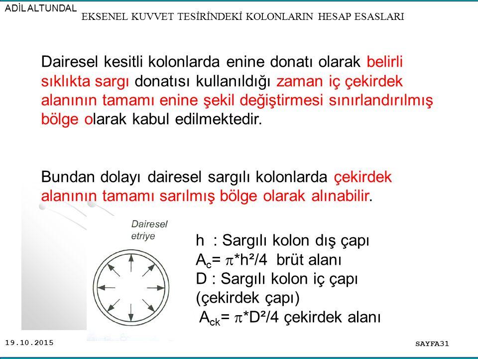 19.10.2015 SAYFA31 ADİL ALTUNDAL EKSENEL KUVVET TESİRİNDEKİ KOLONLARIN HESAP ESASLARI Dairesel kesitli kolonlarda enine donatı olarak belirli sıklıkta