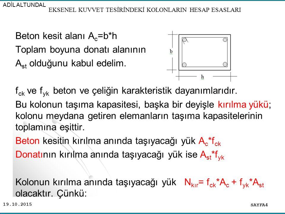 19.10.2015 Beton kesit alanı A c =b*h Toplam boyuna donatı alanının A st olduğunu kabul edelim. f ck ve f yk beton ve çeliğin karakteristik dayanımlar