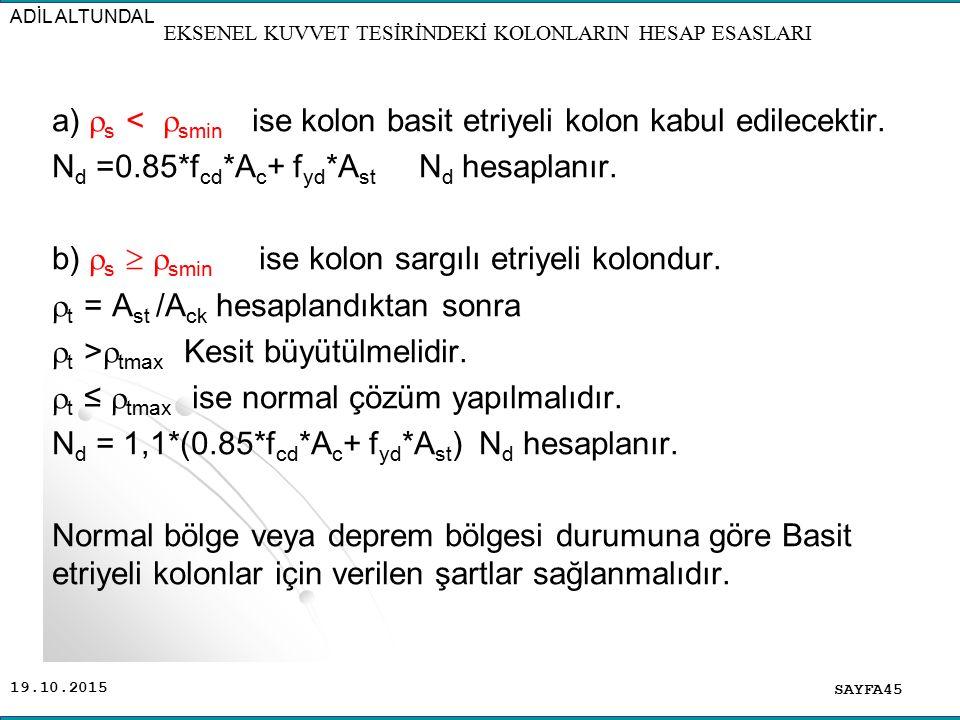 19.10.2015 a)  s <  smin ise kolon basit etriyeli kolon kabul edilecektir. N d =0.85*f cd *A c + f yd *A st N d hesaplanır. b)  s   smin ise kolo