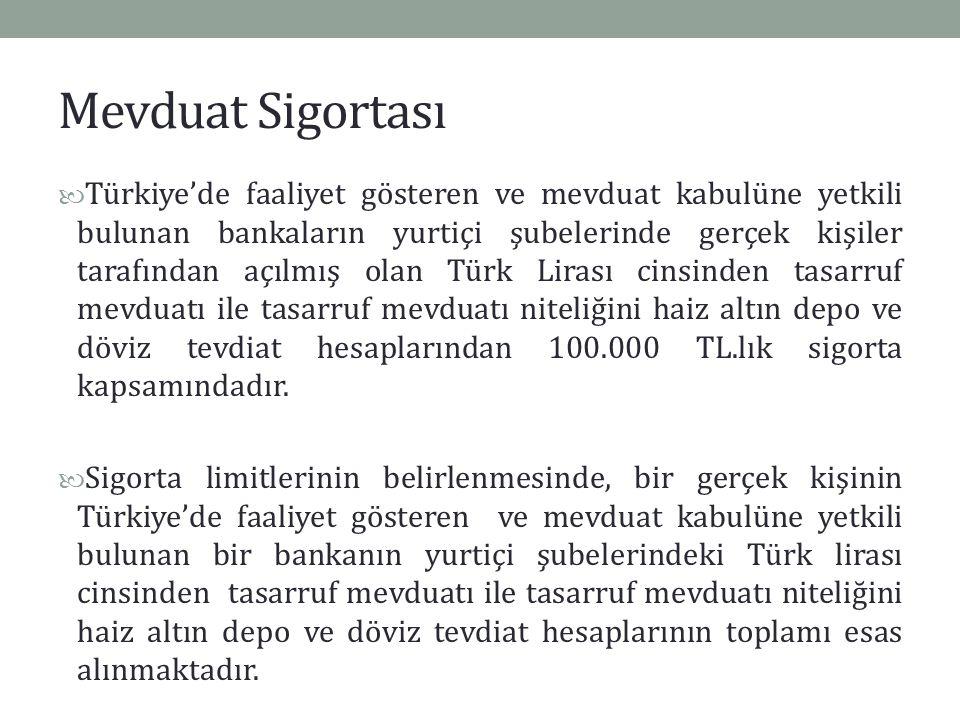Mevduat Sigortası Türkiye'de faaliyet gösteren ve mevduat kabulüne yetkili bulunan bankaların yurtiçi şubelerinde gerçek kişiler tarafından açılmış ol