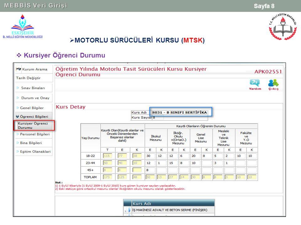 Sayfa 8  MOTORLU SÜRÜCÜLERİ KURSU (MTSK)  Kursiyer Öğrenci Durumu
