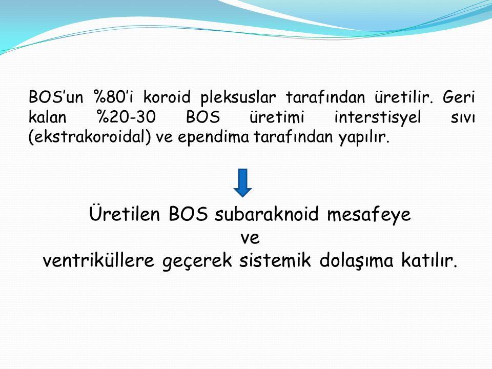BOS'un %80'i koroid pleksuslar tarafından üretilir. Geri kalan %20-30 BOS üretimi interstisyel sıvı (ekstrakoroidal) ve ependima tarafından yapılır. Ü
