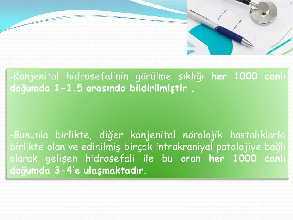 - Konjenital hidrosefalinin görülme sıklığı her 1000 canlı doğumda 1-1.5 arasında bildirilmiştir. -Bununla birlikte, diğer konjenital nörolojik hastal