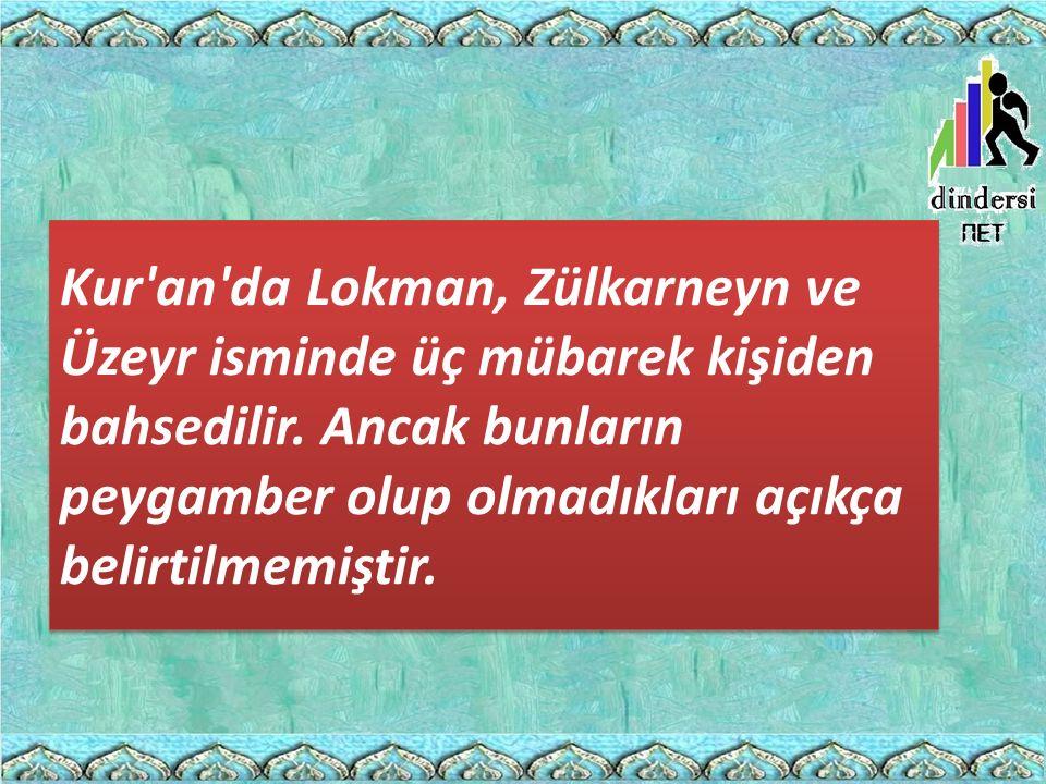 Kur'an'da Lokman, Zülkarneyn ve Üzeyr isminde üç mübarek kişiden bahsedilir. Ancak bunların peygamber olup olmadıkları açıkça belirtilmemiştir.