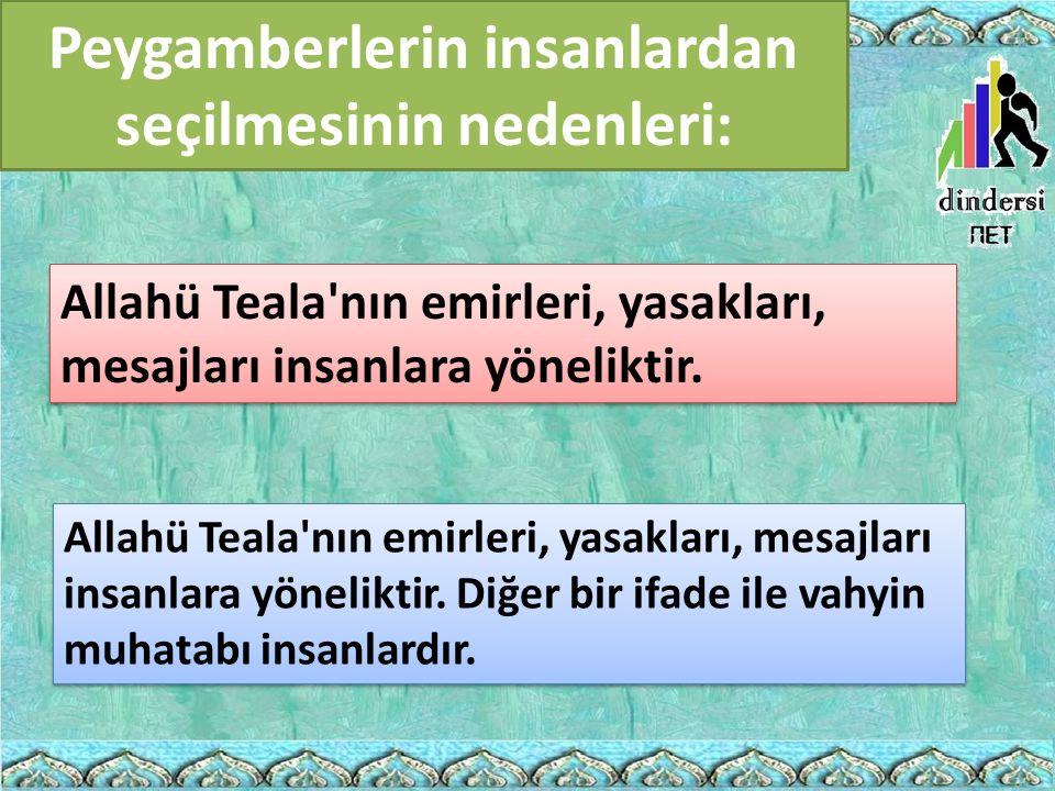 Peygamberlerin insanlardan seçilmesinin nedenleri: Allahü Teala'nın emirleri, yasakları, mesajları insanlara yöneliktir. Allahü Teala'nın emirleri, ya