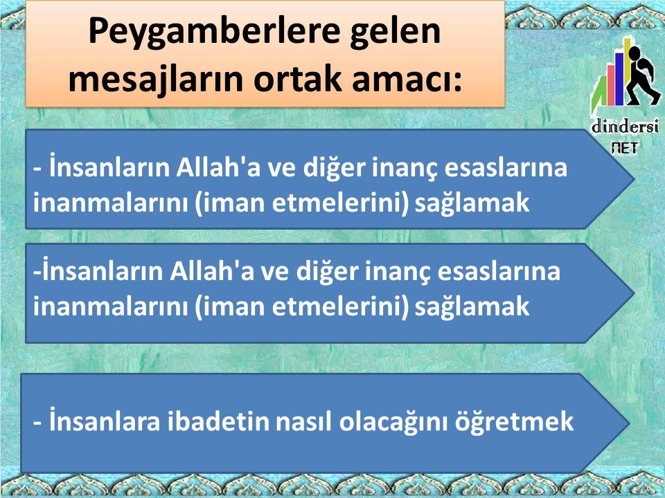 Peygamberlere gelen mesajların ortak amacı: -İnsanların Allah'a ve diğer inanç esaslarına inanmalarını (iman etmelerini) sağlamak - İnsanlara ibadetin
