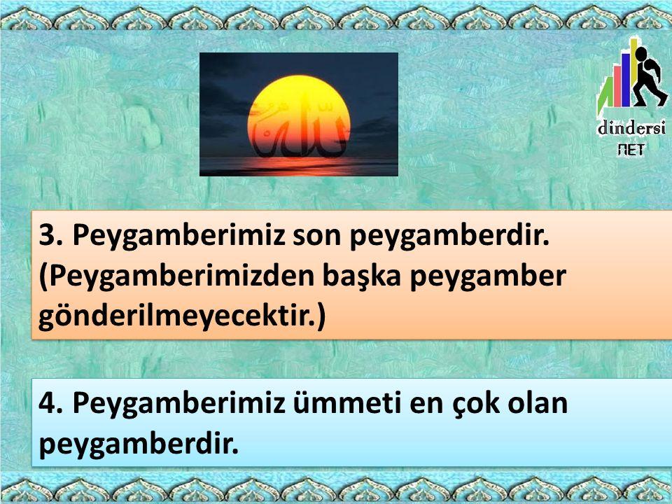 3. Peygamberimiz son peygamberdir. (Peygamberimizden başka peygamber gönderilmeyecektir.) 4. Peygamberimiz ümmeti en çok olan peygamberdir.