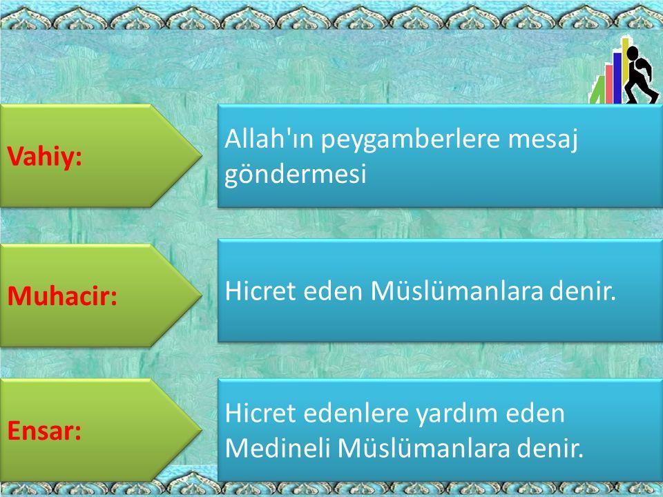 Vahiy: Muhacir: Ensar: Allah'ın peygamberlere mesaj göndermesi Hicret eden Müslümanlara denir. Hicret edenlere yardım eden Medineli Müslümanlara denir