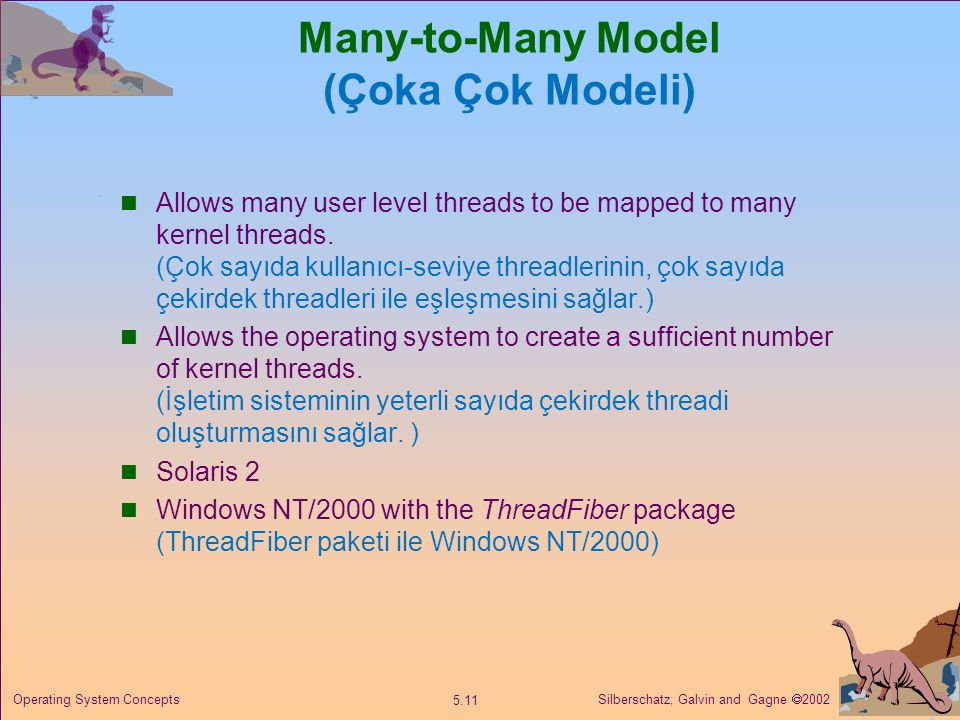 Silberschatz, Galvin and Gagne  2002 5.11 Operating System Concepts Many-to-Many Model (Çoka Çok Modeli) Allows many user level threads to be mapped