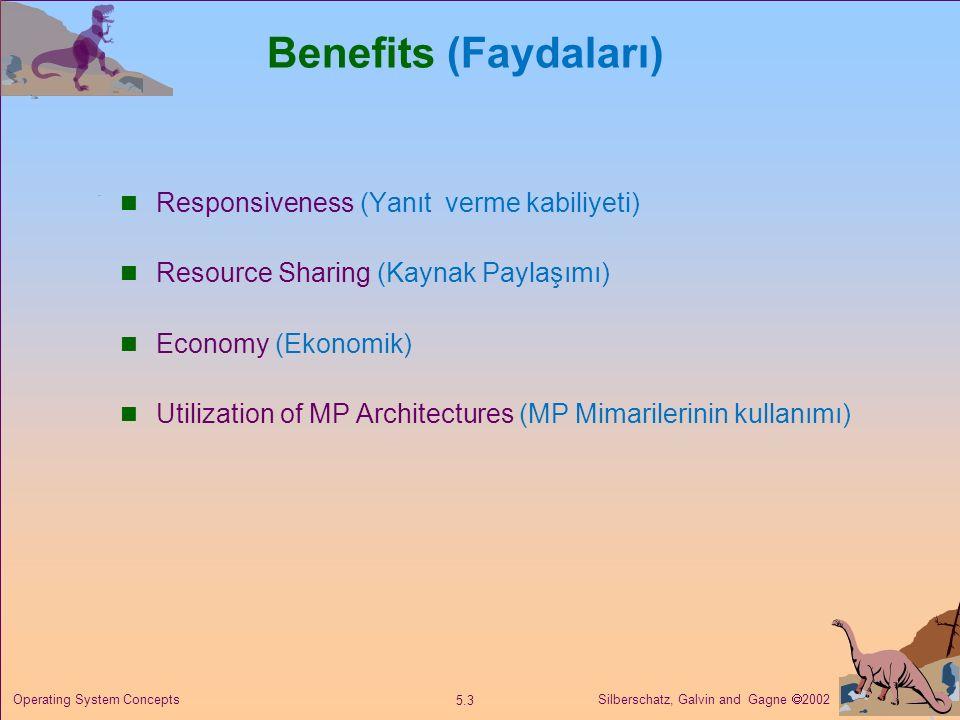 Silberschatz, Galvin and Gagne  2002 5.3 Operating System Concepts Benefits (Faydaları) Responsiveness (Yanıt verme kabiliyeti) Resource Sharing (Kay