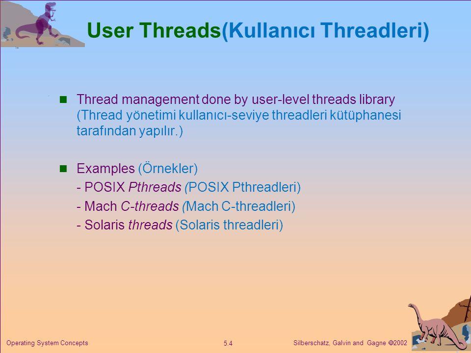 Silberschatz, Galvin and Gagne  2002 5.4 Operating System Concepts User Threads(Kullanıcı Threadleri) Thread management done by user-level threads li