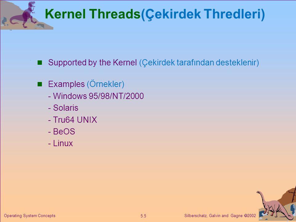 Silberschatz, Galvin and Gagne  2002 5.6 Operating System Concepts Multithreading Models (Çoklu Thread Modelleri) Many-to-One (Çoka Bir) One-to-One (Bire Bir) Many-to-Many (Çoka Çok)