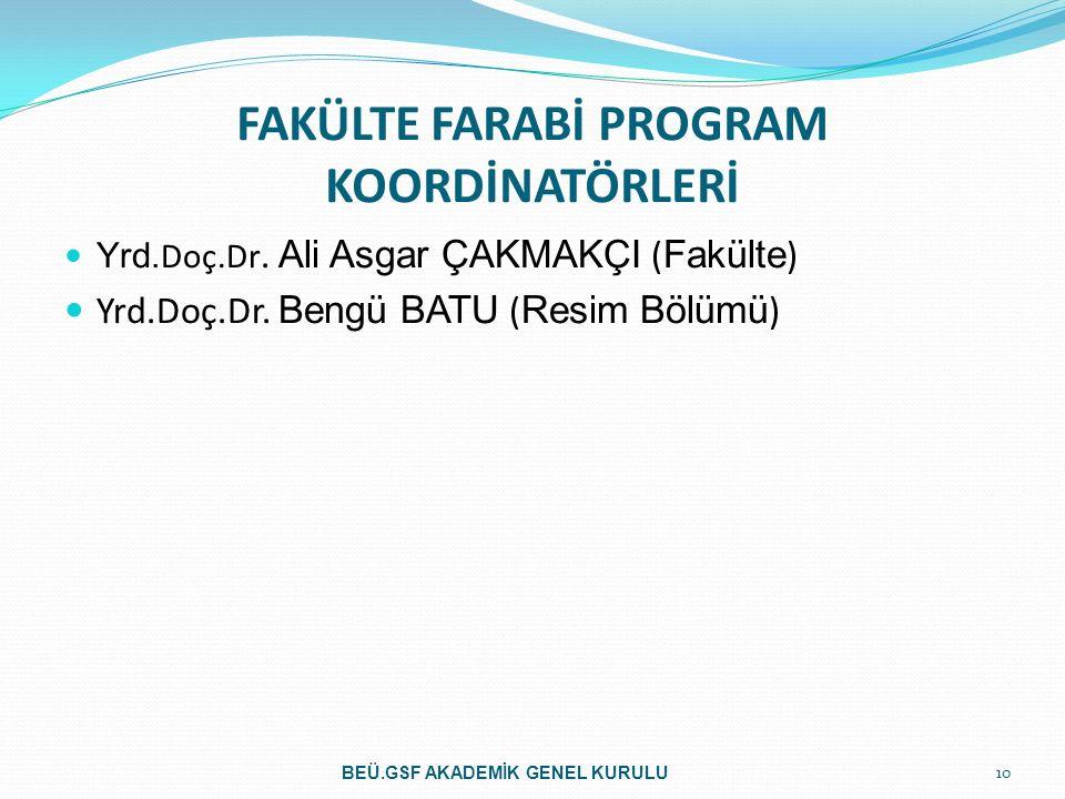 FAKÜLTE FARABİ PROGRAM KOORDİNATÖRLERİ Yrd. Doç.Dr. Ali Asgar ÇAKMAKÇI ( Fakülte ) Yrd.Doç.Dr. Bengü BATU ( Resim Bölümü ) 10 BEÜ.GSF AKADEMİK GENEL K