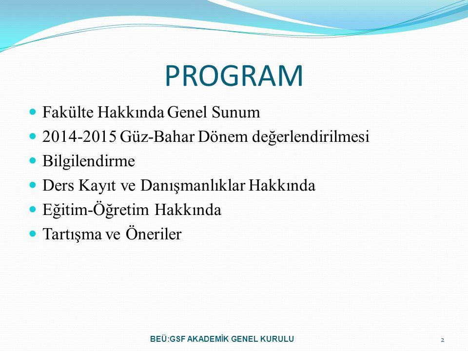 PROGRAM Fakülte Hakkında Genel Sunum 2014-2015 Güz-Bahar Dönem değerlendirilmesi Bilgilendirme Ders Kayıt ve Danışmanlıklar Hakkında Eğitim-Öğretim Ha