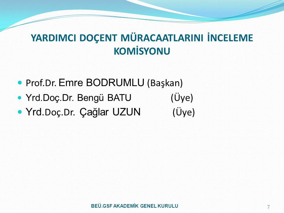 YARDIMCI DOÇENT MÜRACAATLARINI İNCELEME KOMİSYONU Prof.Dr. Emre BODRUMLU (Başkan) Yrd.Doç.Dr. Bengü BATU (Üye) Yrd. Doç.Dr. Çağlar UZUN (Üye) 7 BEÜ.GS