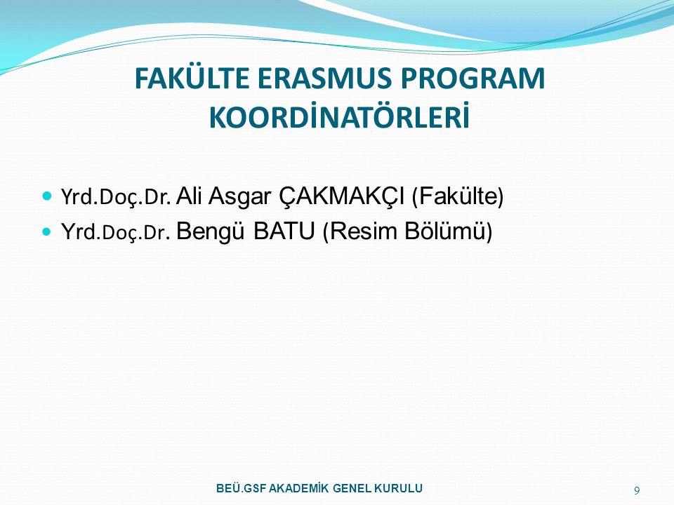 FAKÜLTE ERASMUS PROGRAM KOORDİNATÖRLERİ Yrd.Doç.Dr. Ali Asgar ÇAKMAKÇI ( Fakülte ) Yrd. Doç.Dr. Bengü BATU ( Resim Bölümü ) 9 BEÜ.GSF AKADEMİK GENEL K