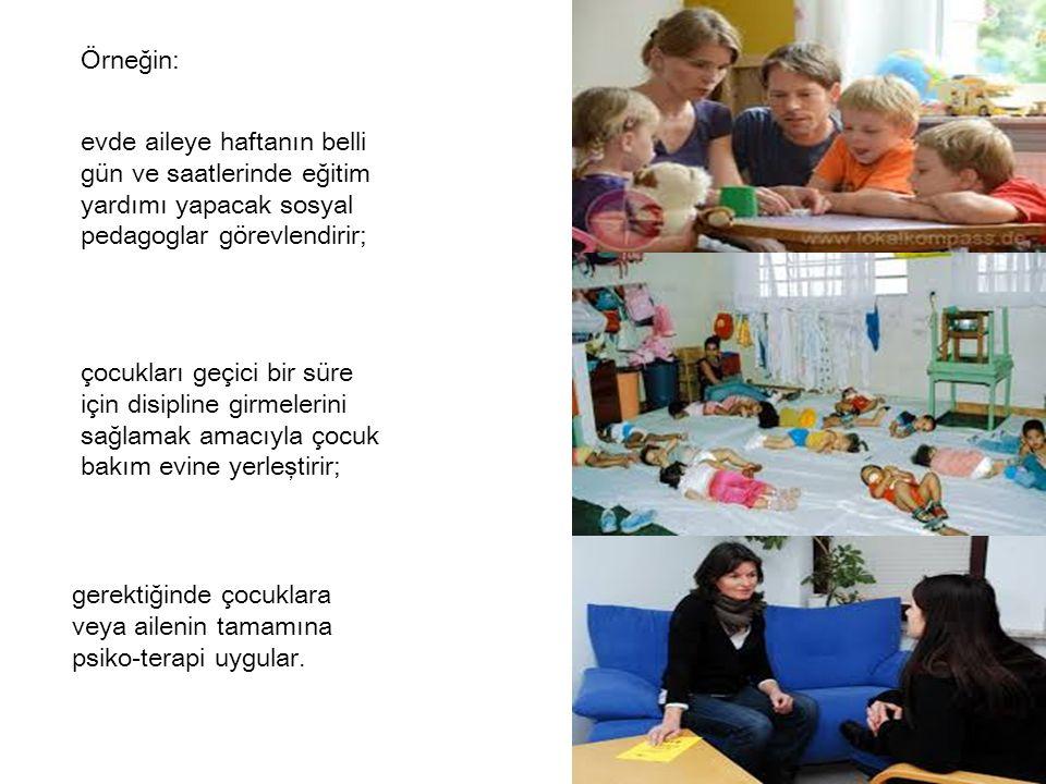 evde aileye haftanın belli gün ve saatlerinde eğitim yardımı yapacak sosyal pedagoglar görevlendirir; Örneğin: çocukları geçici bir süre için disiplin