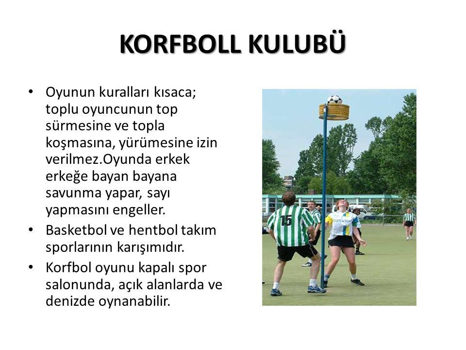 KORFBOLL KULUBÜ Oyunun kuralları kısaca; toplu oyuncunun top sürmesine ve topla koşmasına, yürümesine izin verilmez.Oyunda erkek erkeğe bayan bayana savunma yapar, sayı yapmasını engeller.